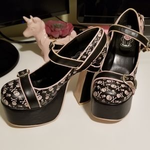 T.U.K Shoes - T.U.K. / TUK Skull and Crossbone Platform Heels